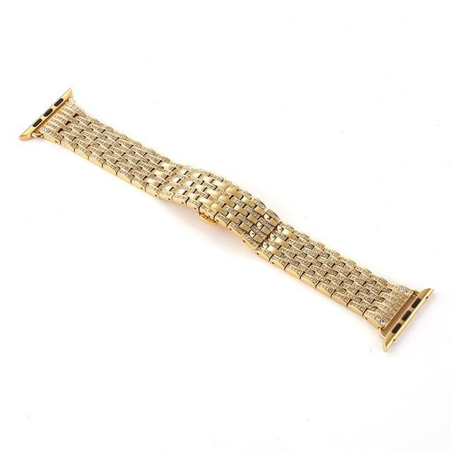 Apple gold / 38mm / 40mm Apple Watch Series 5 4 3 2 Band, Diamond Stainless Steel Strap Bracelet Loop 38mm, 40mm, 42mm, 44mm - US Fast Shipping