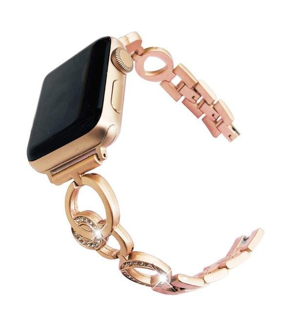 Apple Gold / 38mm Bling Stainless Steel Bracelet for Apple Watch 38mm 42mm 40mm 44mm Rose Gold Women Replace Watchband Strap Band for iwatch 1 2 3 4