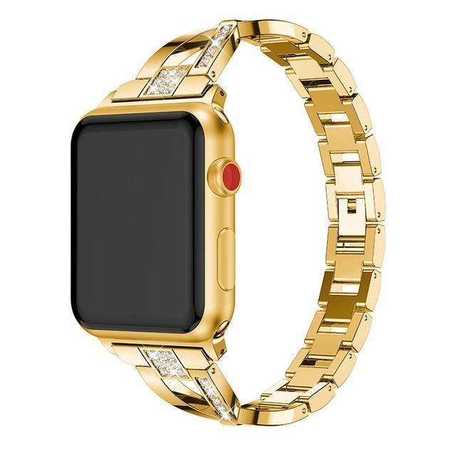 Apple Gold / 38mm or 40mm For Apple Watch band 40mm 44mm 38mm 42mm women Diamond Band for iWatch series 4 3 2 1  bracelet stainless steel strap Wristband