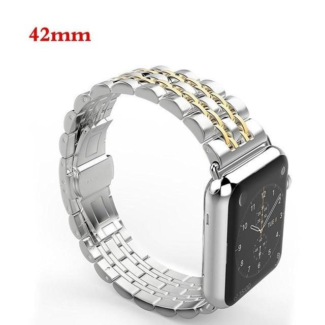 Apple gold / 42mm / 44mm Apple Watch Series 5 4 3 2 Band, Luxury metal Stainless Steel rolex Strap Bracelet Wrist Belt for iWatch 38mm, 40mm, 42mm, 44mm US Fast Shipping