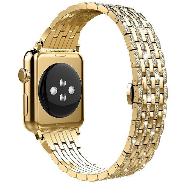 Apple gold1 / 38mm Luxury Diamond Case matching strap Stainless Steel strap For Apple Watch Series 4 3 2 1 bands cover iWatch 38mm 42mm 40mm 44mm bracelet women