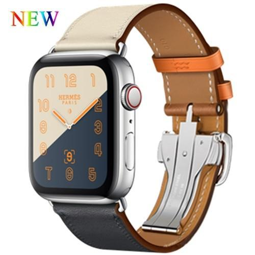 Apple Gray / 38mm Apple Watch Series 5 4 3 2 Band, Leather strap Deployment Buckle watch Strap watchband Hermes 38mm, 40mm, 42mm, 44mm - US Fast Shipping