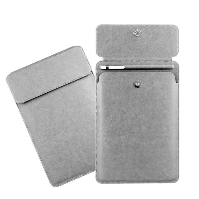 Apple Gray iPad Pro 10.5  sleeve Pouch Bag cover with Button flap and Pencil holder fits  9.7 & new ipad 11 2018 Release