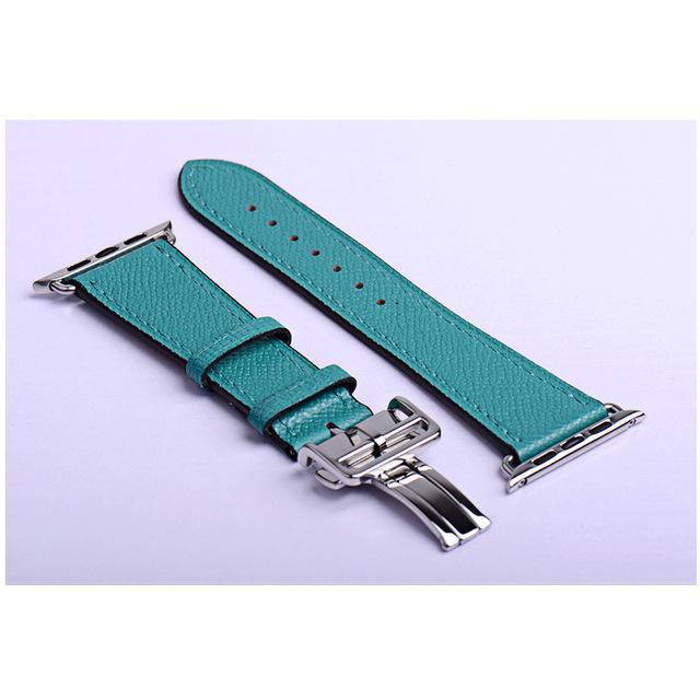 Apple green / 38mm Apple Watch Series 5 4 3 2 Band, Leather strap Deployment Buckle watch Strap watchband Hermes 38mm, 40mm, 42mm, 44mm - US Fast Shipping