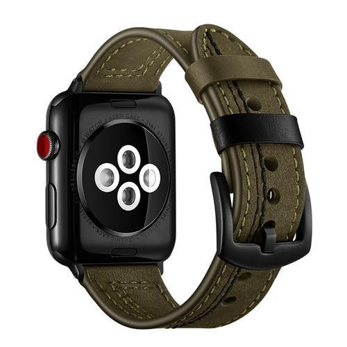 Apple Green / 40mm Leather strap for apple watch 4 band 44mm 42mm iwatch 3 band 38mm/40mm bracelet Genuine Leather watchband belt accessories, USA Fast Shipping