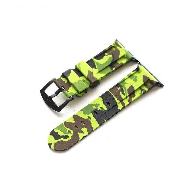 Apple Green Brack buckl / 38mm Camouflage Rubber Men For Iwatch Strap, High-Strength Waterproof Sweat-Proof Men's Rubber Strap,  For Apple Watch 42 44MM