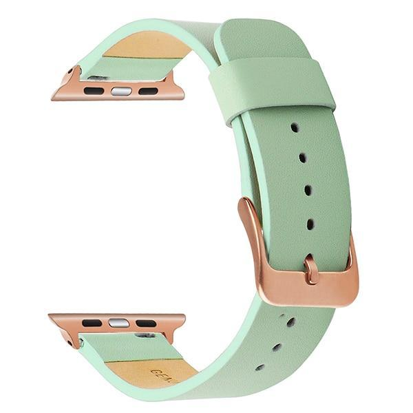 Apple Green RG / 38mm Apple Watch Series 5 4 3 2 Band, Simple Minimalist Genuine Leather Watchband Steel Clasp Strap Bracelet 38mm, 40mm, 42mm, 44mm