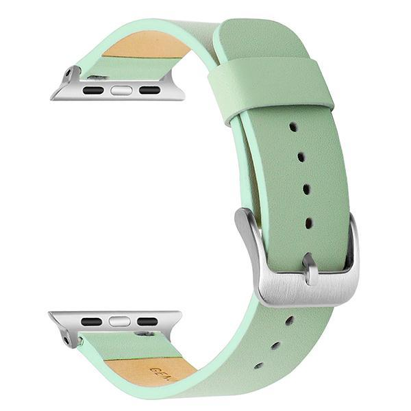 Apple Green S / 38mm Apple Watch Series 5 4 3 2 Band, Simple Minimalist Genuine Leather Watchband Steel Clasp Strap Bracelet 38mm, 40mm, 42mm, 44mm