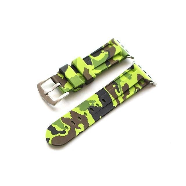 Apple Green silver buckl / 38mm Camouflage Rubber Men For Iwatch Strap, High-Strength Waterproof Sweat-Proof Men's Rubber Strap,  For Apple Watch 42 44MM