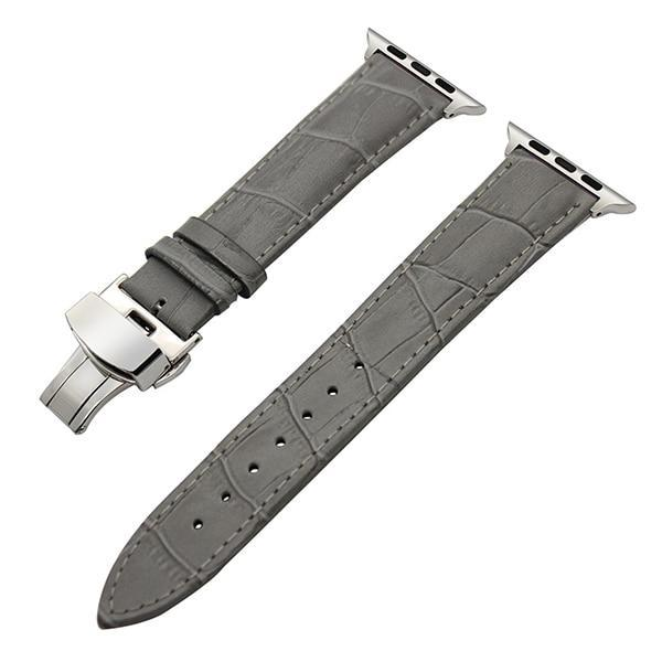 Apple Grey / 38mm Faux Leather Watchband for 38mm 40mm 42mm 44mm iWatch Apple Watch Series 4 3 2 1 Band Butterfly Buckle Strap Bracelet