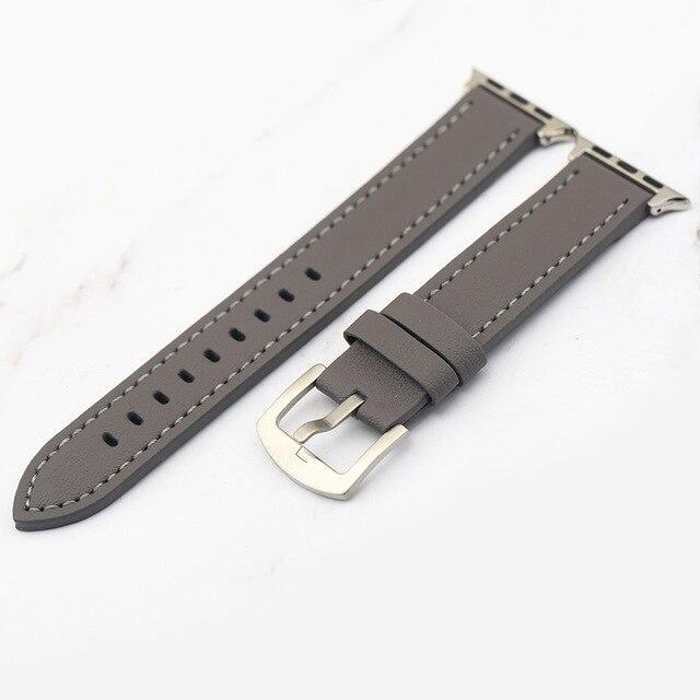 Apple Grey / 38mm Plus Strap Cowhide Faux leather Retro Design Watch Strap 38 42mm Replacement For Apple Watch 135*80mm Lengthen Watchband