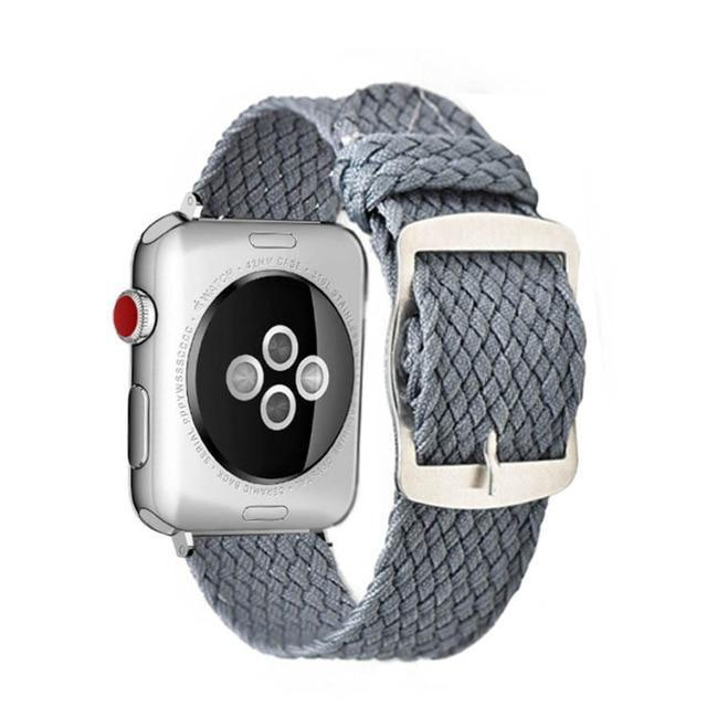 Apple Grey / 44mm Apple Watch Series 5 4 3 2 Band, Soft Breathable Nylon Polyester Watch, Sport Bracelet Strap for iWatch 38mm, 40mm, 42mm, 44mm