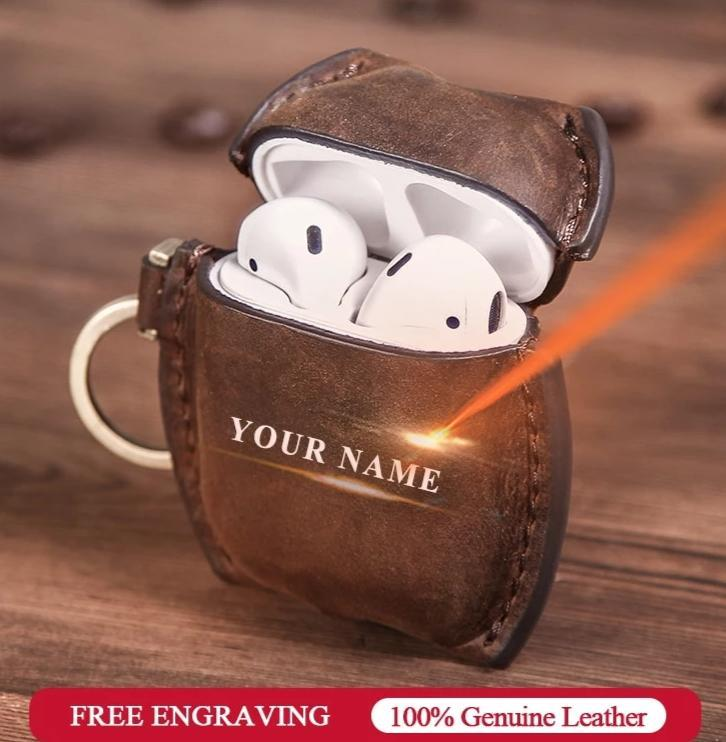 Apple Handmade Airpods case w custom name , vintage tooled nubuck Genuine Leather,  Bluetooth Wireless Earphone cover Protective Skin Accessories