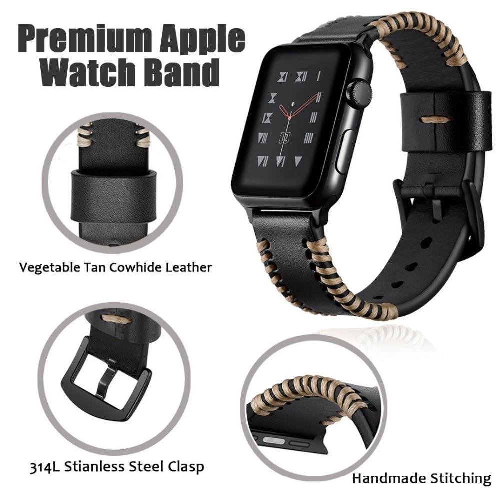 Apple Handmade Watch Strap for Apple Watch Band 42mm 38mm for iWatch 4/5 40mm 44mm Watchband for Apple watch Series 1&2&3&4&5