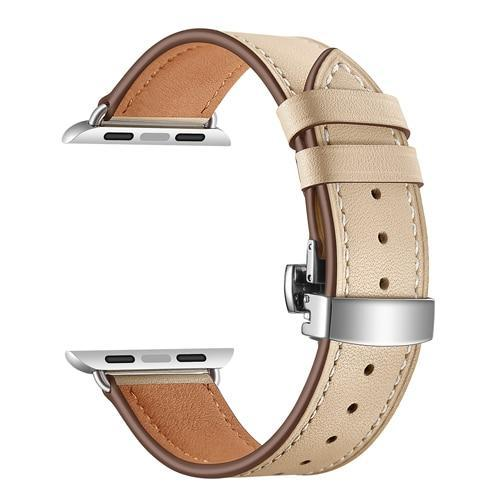 Apple Khaki / 38mm Apple Watch Series 5 4 3 2 Band, Leather Strap Butterfly Clasp watchband Bracelet and Pin Buckle 38mm, 40mm, 42mm, 44mm US Fast Shipping