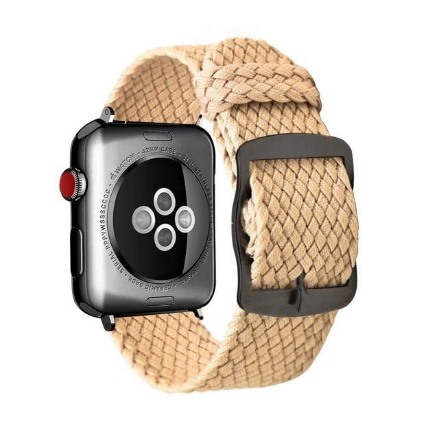 Apple Khaki black / 44mm Apple Watch Series 5 4 3 2 Band, Soft Breathable Nylon Polyester Watch, Sport Bracelet Strap for iWatch 38mm, 40mm, 42mm, 44mm