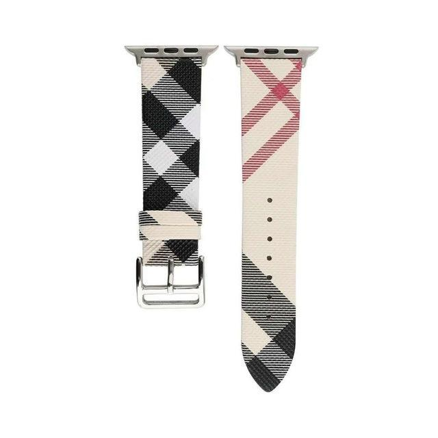 Apple Khaki / for 42mm apple watch Plaid Pattern Leather Bracelet strap For Apple Watch band 4 44/40mm women/men watches wristband For iwatch series 3 2 1 42/38mm