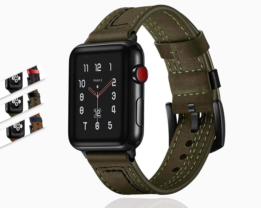 Apple Leather strap for apple watch 5 4 3 band 44mm 42mm iwatch 3 band 38mm/40mm bracelet Genuine Leather watchband belt accessories, USA Fast Shipping