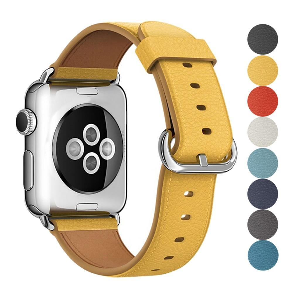 Apple Leather Strap For Apple Watch Band 42mm 38mm iwatch 4/3 Bracelet 44mm 40mm bracelet Stainless Steel Classic Buckle Watchband, USA Fast Shipping