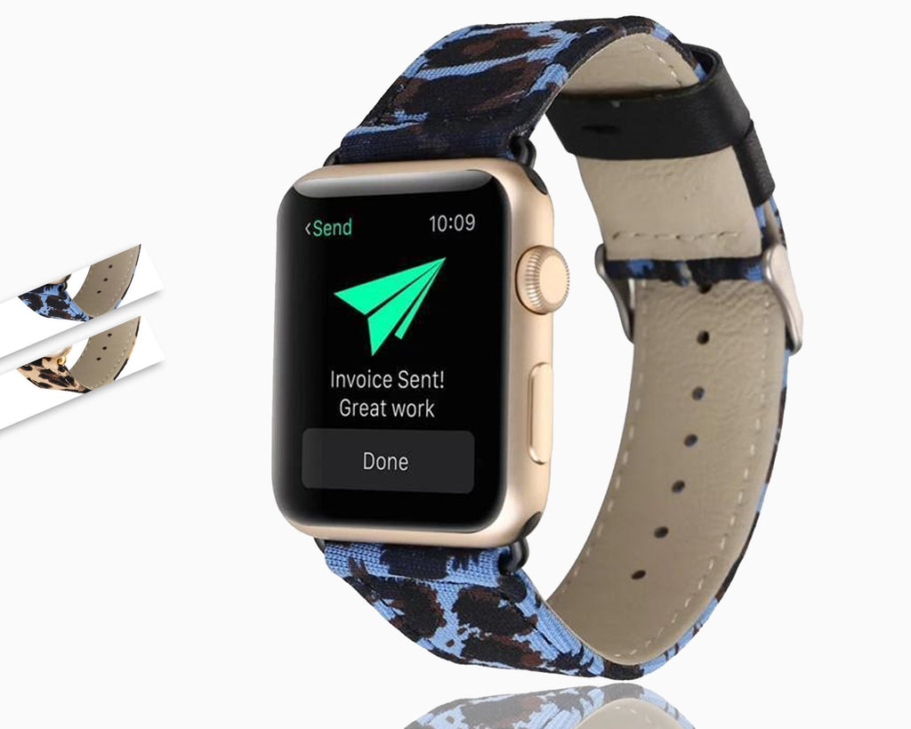 Apple Leopard Printed Leather Watchband Strap Band for Apple Watch 38mm 42mm Series 1 /2 Wrist Band Bracelet