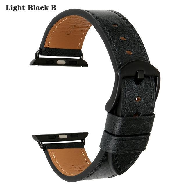 Apple Light Black B / For Apple Watch 42mm Quality Leather Watchband Replacement For Apple Watch Band 44mm 42mm 40mm 38mm Series 4 3 2 1 iWatch Apple Watch Strap