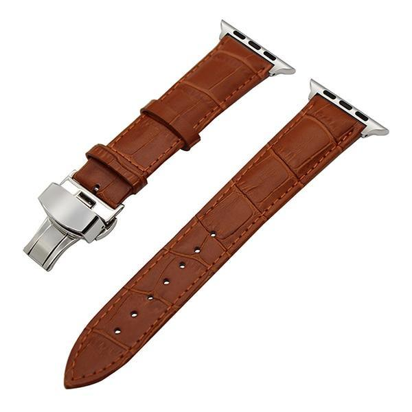 Apple Light Brown / 38mm Faux Leather Watchband for 38mm 40mm 42mm 44mm iWatch Apple Watch Series 4 3 2 1 Band Butterfly Buckle Strap Bracelet