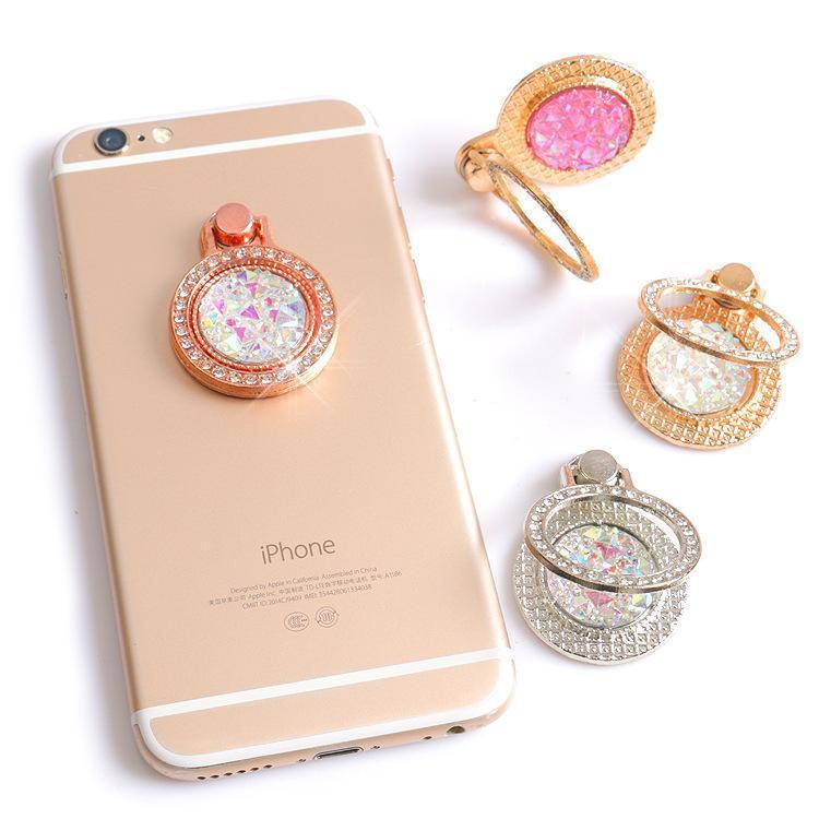 Apple Luxury 360 Degree Finger Ring Diamond Floral Smartphone Holder for Mount Stand for iPhone 8 Plus 6s