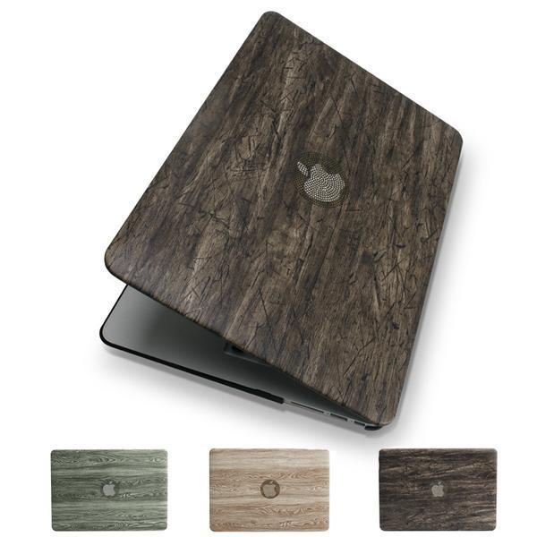 Apple New Classical wood grain PU leather top + Hard plastic Laptop Case for MacBook Air Pro Retina 11 12 13 15 inch Touch Bar