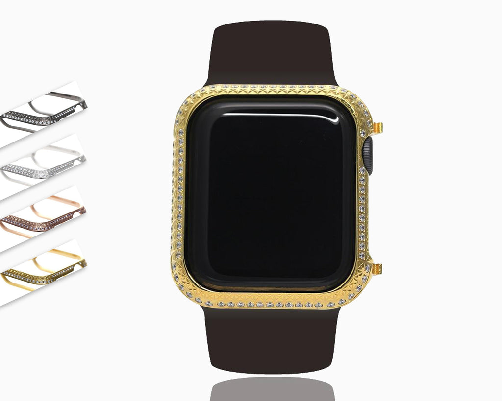 Apple New Top Quality 40mm Bezel Two Tone Encrusted Rhinstone Diamond Gold Case Bezel Compatible Apple Watch Series 4 for Apple Watch