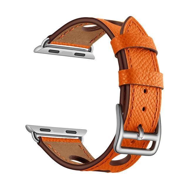 Apple Orange / 38mm Apple Watch band single leather tour 42mm 38mm 44mm 40mm iwatch series 4/3/2/1 belt replacement clock bracelet wrist, USA Fast Shipping