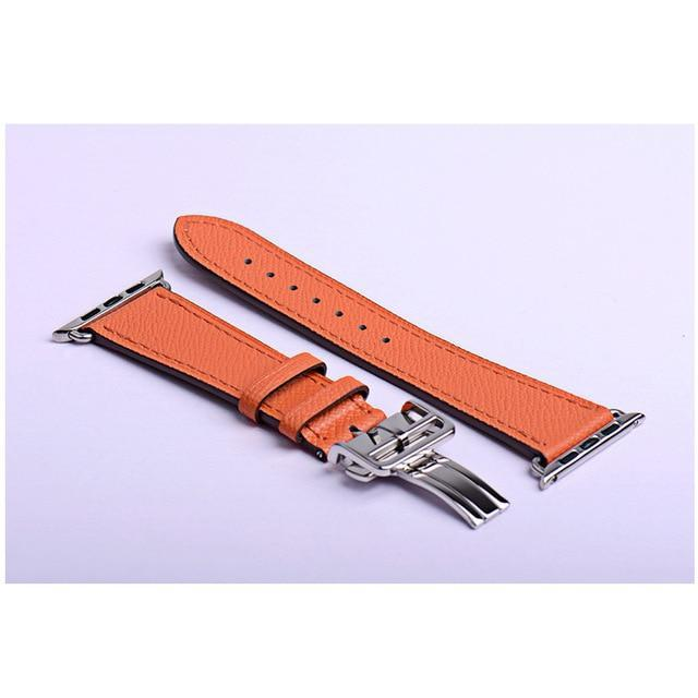 Apple orange / 38mm Apple Watch Series 5 4 3 2 Band, Leather strap Deployment Buckle watch Strap watchband Hermes 38mm, 40mm, 42mm, 44mm - US Fast Shipping