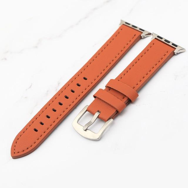 Apple Orange / 38mm Plus Strap Cowhide Faux leather Retro Design Watch Strap 38 42mm Replacement For Apple Watch 135*80mm Lengthen Watchband