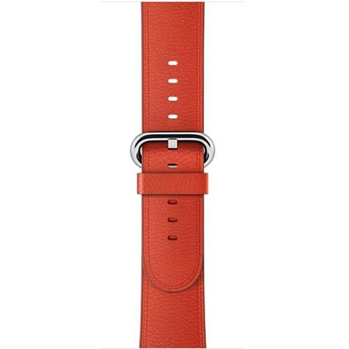 Apple Orange / 42 mm Leather Strap For Apple Watch Band 42mm 38mm iwatch 4/3 Bracelet 44mm 40mm bracelet Stainless Steel Classic Buckle Watchband, USA Fast Shipping