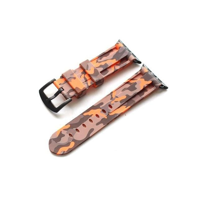 Apple Orange  Brack buckl / 38mm Camouflage Rubber Men For Iwatch Strap, High-Strength Waterproof Sweat-Proof Men's Rubber Strap,  For Apple Watch 42 44MM