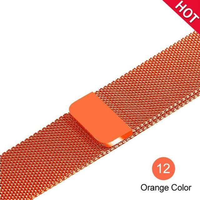 Apple Orange / For 38MM and 40MM milanese loop for apple watch Series 1 2 3 4 5 band for iwatch stainless steel strap Magnetic buckle 38mm 40mm 42mm44mm Bracelet