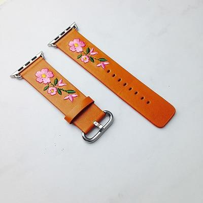 Apple Orange / For Apple watch 38 Faux Leather Watchband For Apple Watch 38mm 42mm Red Flower Embroidery Women Men Replace Bracelet Strap Band for iwatch 1 2 3