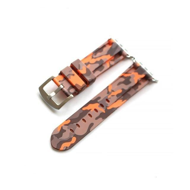Apple Orange silver buckl / 38mm Camouflage Rubber Men For Iwatch Strap, High-Strength Waterproof Sweat-Proof Men's Rubber Strap,  For Apple Watch 42 44MM