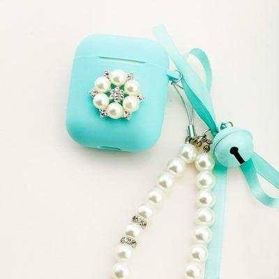 Apple Pearls B Airpods case, handmade with bling crystals and pearls, shockproof Apple Bluetooth Earphone Charging cover, cute keyring strap