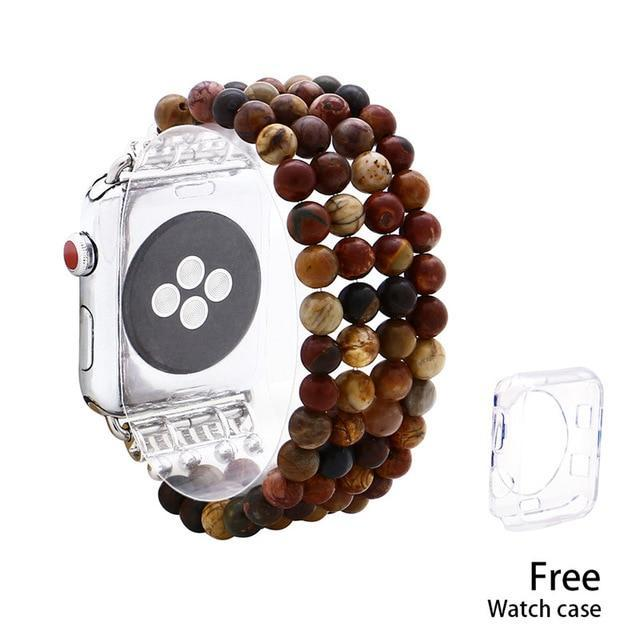 Apple picasso jasper / 38mm Tiger Eye Beads Watch Strap Natural Stone Apple Watchband For iWatch Women  38mm/42mmWatch Band 4 Rows Bracelet