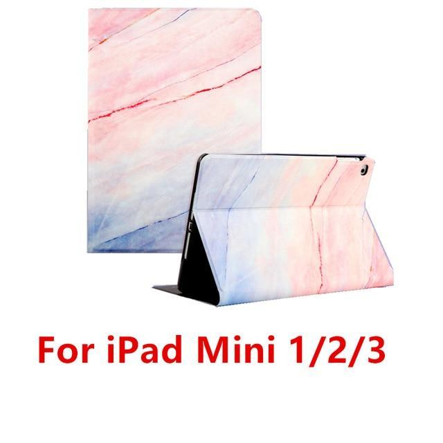 Apple Pink 123 For iPad 9.7 2017 2018 Case A1893 Silicone Soft Back Marble PU Leather Smart Cover for iPad Air 2 1 Pro 10.5 Mini 1 2 3 4 Funda