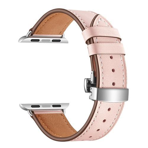 Apple pink / 38mm Apple Watch Series 5 4 3 2 Band, Leather Strap Butterfly Clasp watchband Bracelet and Pin Buckle 38mm, 40mm, 42mm, 44mm US Fast Shipping
