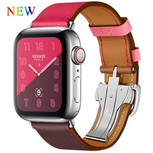 Apple Pink / 38mm Apple Watch Series 5 4 3 2 Band, Leather strap Deployment Buckle watch Strap watchband Hermes 38mm, 40mm, 42mm, 44mm - US Fast Shipping