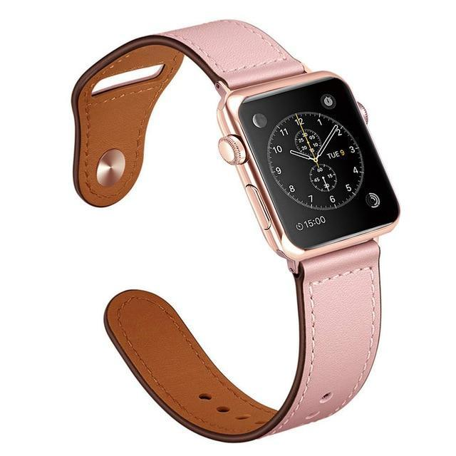 Apple pink / 38mm Faux Leather Strap for pulseira apple watch band 42mm 38mm 40mm 44mm sports high-quality correa for apple iWatch bracelet 4 3/2 belt