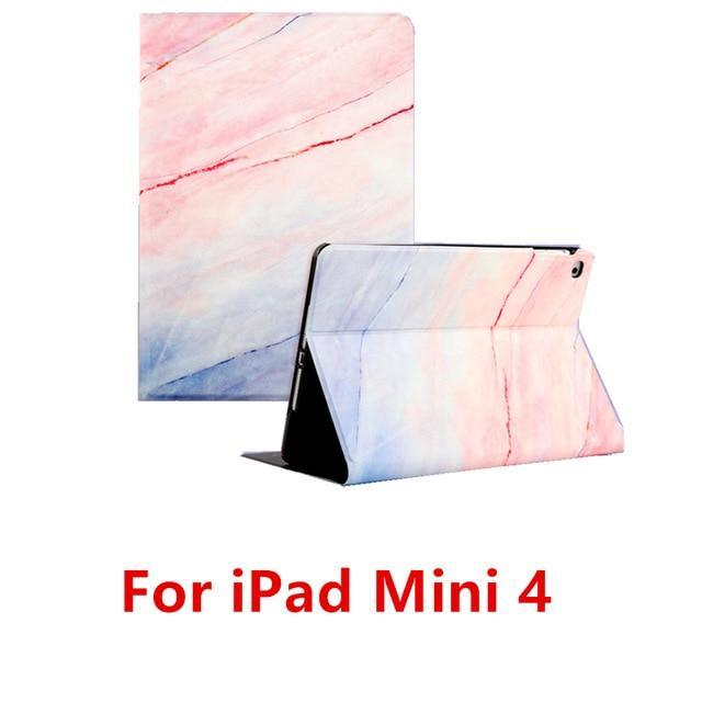 Apple Pink 4 For iPad 9.7 2017 2018 Case A1893 Silicone Soft Back Marble PU Leather Smart Cover for iPad Air 2 1 Pro 10.5 Mini 1 2 3 4 Funda