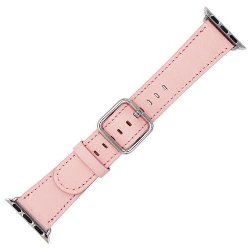 Apple Pink / 42 mm Leather Strap For Apple Watch Band 42mm 38mm iwatch 4/3 Bracelet 44mm 40mm bracelet Stainless Steel Classic Buckle Watchband, USA Fast Shipping