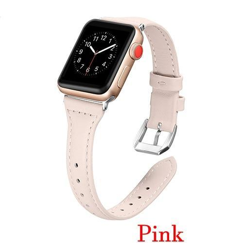 Apple Pink / 42mm 44mm AW Pulseira strap For apple watch band iwatch 4 3 42mm 38mm 44mm 40mm correa for apple watch band leather Bracelet Accessories, USA Fast Shipping