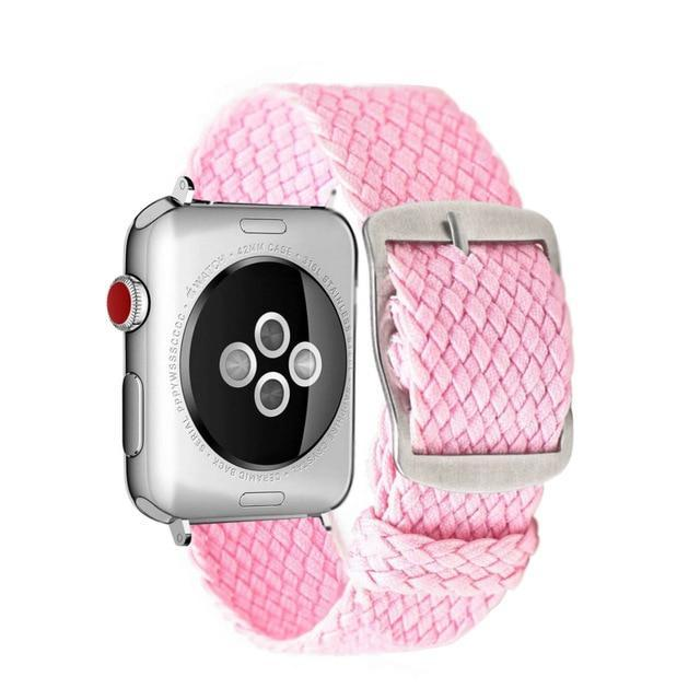 Apple Pink / 44mm Apple Watch Series 5 4 3 2 Band, Soft Breathable Nylon Polyester Watch, Sport Bracelet Strap for iWatch 38mm, 40mm, 42mm, 44mm