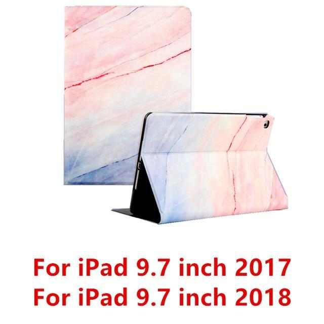 Apple Pink 9.7 2017 For iPad 9.7 2017 2018 Case A1893 Silicone Soft Back Marble PU Leather Smart Cover for iPad Air 2 1 Pro 10.5 Mini 1 2 3 4 Funda