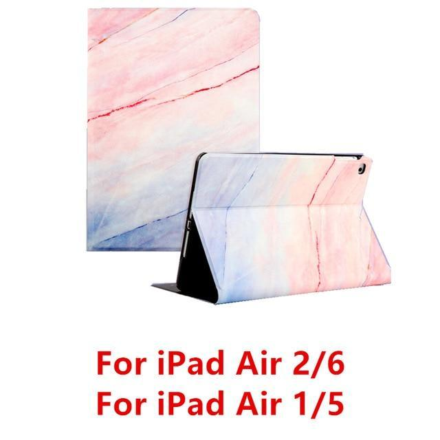 Apple Pink Air 1 For iPad 9.7 2017 2018 Case A1893 Silicone Soft Back Marble PU Leather Smart Cover for iPad Air 2 1 Pro 10.5 Mini 1 2 3 4 Funda