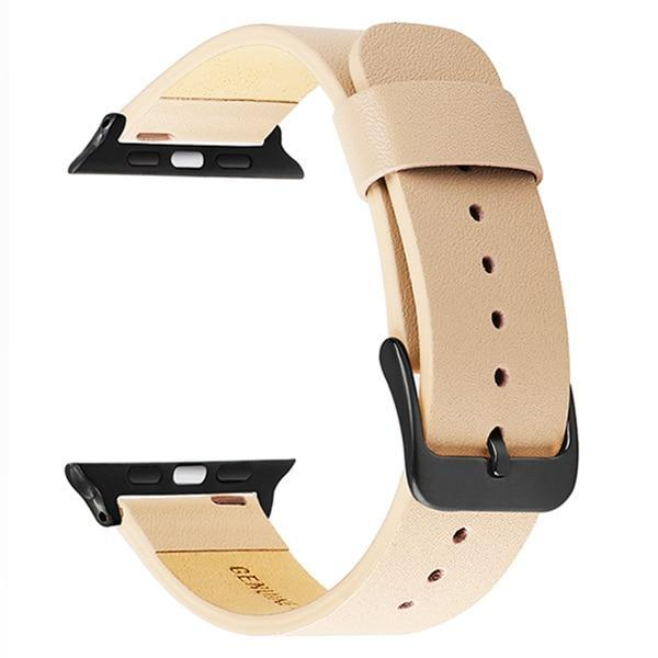 Apple Pink B / 38mm Apple Watch Series 5 4 3 2 Band, Simple Minimalist Genuine Leather Watchband Steel Clasp Strap Bracelet 38mm, 40mm, 42mm, 44mm